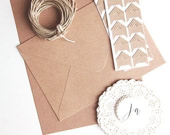 Do it yourself Kit - vintage wedding kraft paper