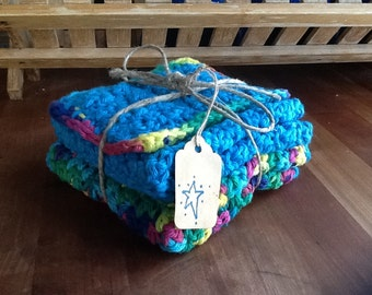 FREE SHIP-Crocheted Cotton Dish Cloths and Sponge