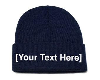 Custom Beanie, Custom Beanies, Custom Embroidered Beanie, Custom Beanie Hat, Navy