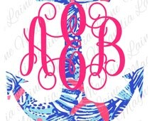 Lilly Pulitzer Anchor Decal   Monogrammed Anchor Decal   Lilly Pulitzer Monogram   Script Monogram   Monogram Decal   Monogram Car Decal