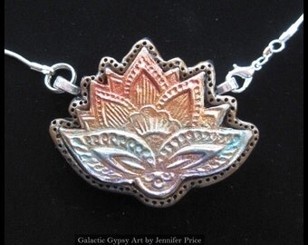 Rainbow Lotus Polymer Clay Pendant/Necklace