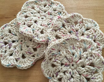 Crocheted cotton coasters - set of four