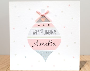 Personalised First Christmas Card - 1st Christmas Card - baby's first Christmas card - baby name Christmas card - baby Christmas card