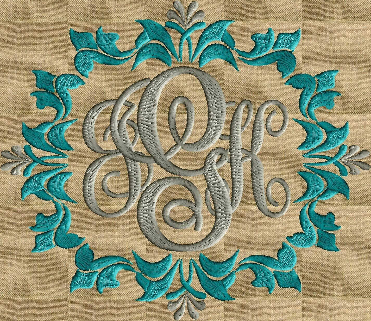 Anastasia scroll Floral Font Frame Monogram Embroidery