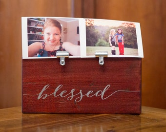 Photo Holder BLESSED Picture Clip Frame | Teachers Gift | Baby Gift | Office Nursery Home | Picture Frame | Photo Frame