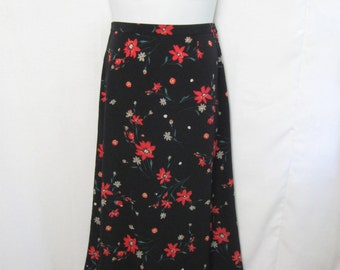 Vintage Christopher & Banks Maxi Skirt Misses 12 - A-Line Skirt with Elastic Panels at Waist - Preppy Career Skirt - Details Below