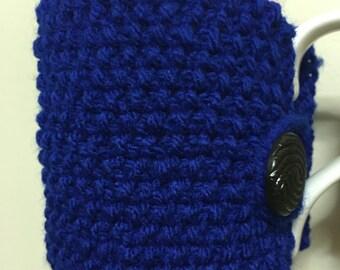 Handmade blue cup cozy or mug cozy, blue cosy, coffee cozy, tea cozy, knitted tea cosy