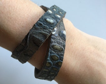 Crocodile printed leather wrapper bracelet
