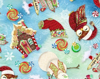 Hoffman - Enchanted Ornaments - N4263-445-Spearmint - Snowman - Ginger Bread House - Owl - Stockings - Winter - Holiday - Christmas - Candy