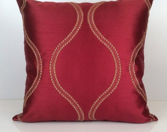 Red and Gold Pillow, Throw Pillow Cover, Decorative Pillow Cover, Cushion Cover, Accent Pillow, Pillow Sham, Silk Blend, Embroidered Pillow.