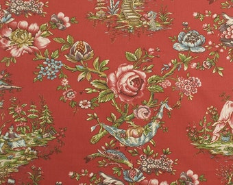 DESIGNER CHINOISERIE Courting Couples TOILE Fabric 10 Yards Red Burgundy Green Blue Multi