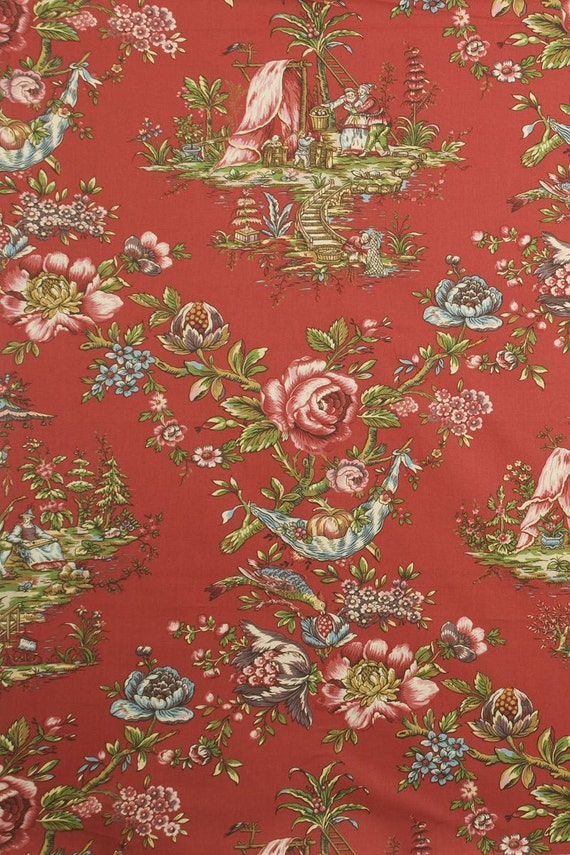 DESIGNER CHINOISERIE Courting Couples TOILE Fabric 10 Yards