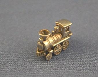 Train Steam engine cow catcher sterling charm