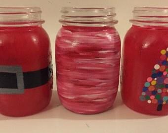 Hand Painted Mason Jar Drinking Glasses