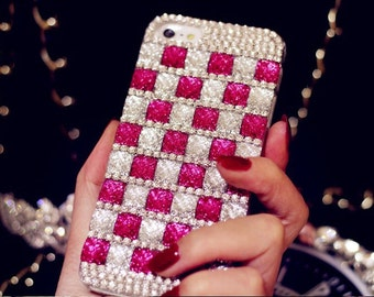 Luxury Pink/Silver Bling Rhinestone Hard Handcrafted Handmade 3D Cover Protective bling case LG Risio H343, LG Tribute Duo, LG Sunset L33L