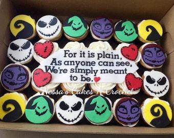 Nightmare before christmas edible fondant cupcake toppers