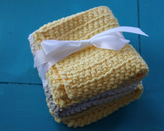 Set of 3 Crocheted Cotton Dishcloths - Yellow