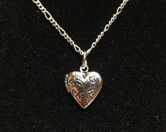 Silver Necklace, Locket, Silver Locket Necklace, Flower Locket, Heart Necklace, Silver Jewelry, Silver Flower Design, Childs Necklace