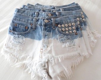 XS Vintage Studded High Waisted OMBRE Denim LEVIS Shorts
