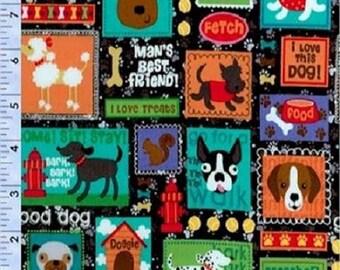 Quilting Fabric Dog Print - Fat Quarter