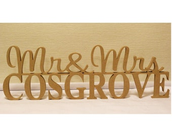 Stacked Mr & Mrs Wooden Wedding Sign