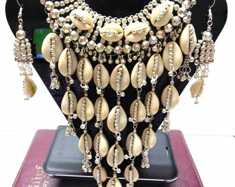Tribal ats Bellydance Jewelry Cowrie Shell NECKLACE EARRINGS Silver plated Boho necklace Gypsy Necklace Tribal Necklace Banjara necklace