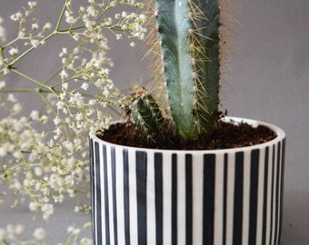 SALE! Individual Black and White Striped Planter(Plant not included)- Porcelain Planter, White with Black Stripes