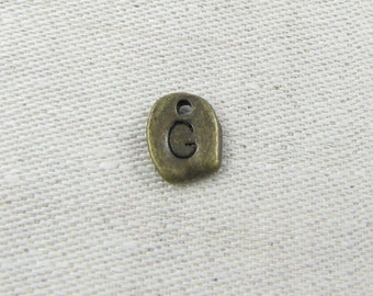 "Bronze Irregular-Shape Letter ""G"" Charm, 1 or 5 letters per package  ALF001g-BZ"