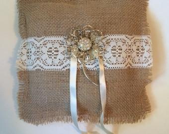 Burlap Ring Bearer Pillow Vintage Brooch Rhinestone Brooch Lace