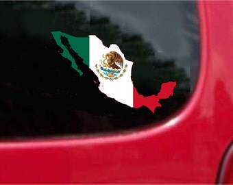 2 Pieces Mexico Outline Map Flag Vinyl Decals Stickers Full Color/Weather Proof. U.S.A Free Shipping