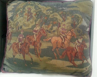 Vintage tapestry polo match scene pillow