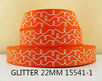 7/8 inch White Glitter Doodle Swirls on Orange -  Printed Grosgrain Ribbon 15541-1 for Hair Bow