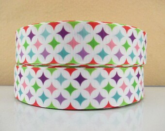 1 inch MODERN COLORFUL STARS On White 12558 -  Printed Grosgrain Ribbon for Hair Bow