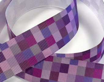 1 inch Shades of Purple and Lavender - Printed Grosgrain Ribbon for Hair Bow