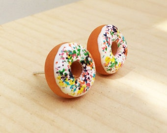 Donuts white icing and multicolored chips earrings