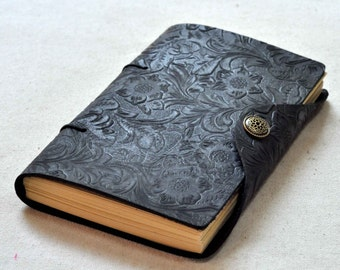 Leather Journal  notebook flower journal (Free stamp)