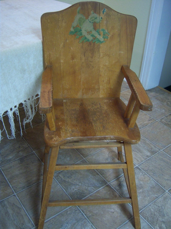Vintage Baby High Chair Pine High Chair With Dog Decal Nursery
