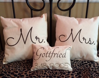 Personalized Mr and Mrs with annovefsary date decorative pillows with name 2-16x16 1-16x9 bridal shower gift