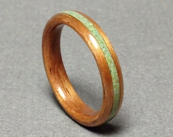 Hawaiian Koa wood ring with turquoise, Koa bentwood ring with green turquoise, Wood Ring Turquoise