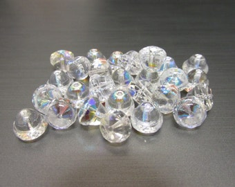 Czech Glass Faceted Bell Crystal Aurora Borealis Finish Beads -  8mm x 10mm - 25 Pieces - Bell Shape