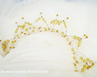 Gold and pale yellow beads ballet tiara. Aurora