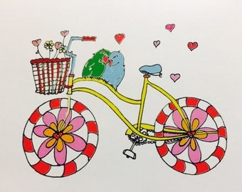 Love birds on a bicycle Valentine's Day/greeting card/love card/thinking of you card