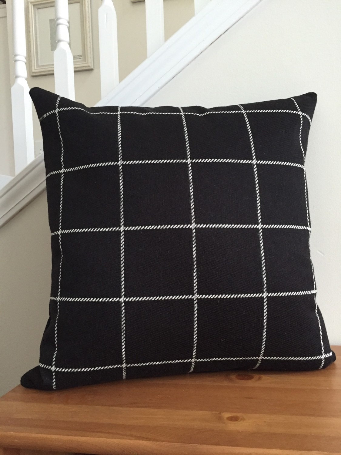 black plaid pillow cover black and white pillow cover. Black Bedroom Furniture Sets. Home Design Ideas