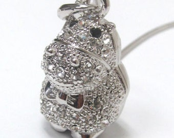 Swarovski Crystal White Gold Plating Hippo Hippopotamus Necklace with Gift Box