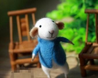 wool felt diy kit needle felt kit --- mice style 78