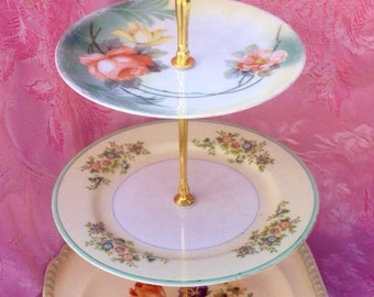 Spring Blooms, Tea Server, Orange Coral Roses, Three Tier, 3 Tier Cupcake Stand, Vintage China, Tea Party, Girly, Green and Ivory Plates