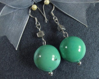 Earrings Grass Turquoise Howlite 18mm Round Beads 925 ESAN2059