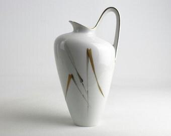 Stylish white Heinrich Porcelain Vase Gold decor reed, German Porcelain from the 50s, vintage
