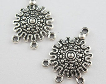 18Pcs Tibetan Silver Tone Flower 1-3 Charm Pendant Connector 18.5x26mm