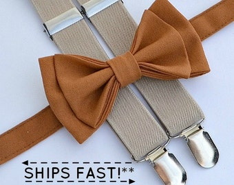 Copper Bow Tie &  Tan Suspenders with Copper Pocket Square -- Ring Bearer Outfit -- Groomsmen Bow Tie Suspenders Pocket Square